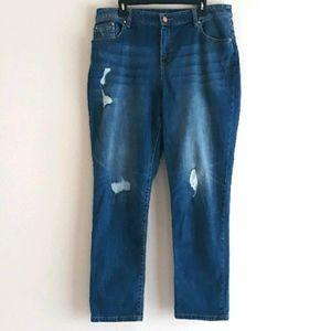 Chico's  Platinum Distressed Skimmer Jeans